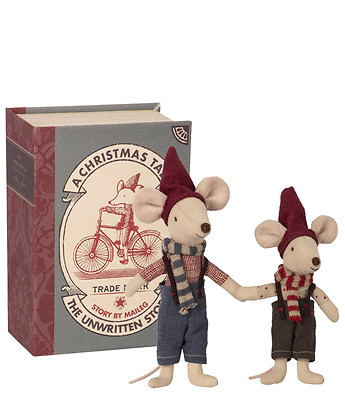 Christmas mice in book