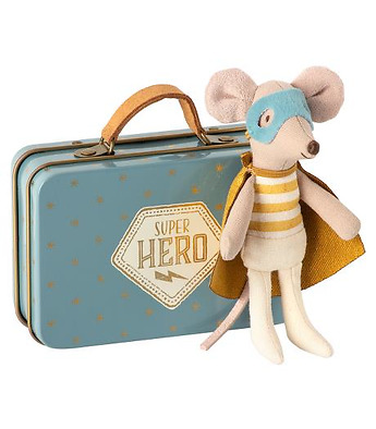 Maileg Super Hero mouse -  Little brother in suitcase
