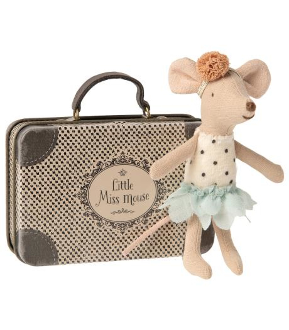 Little Miss Mouse in suitcase