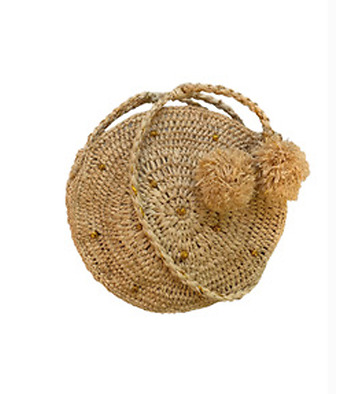 Round bag in raffia