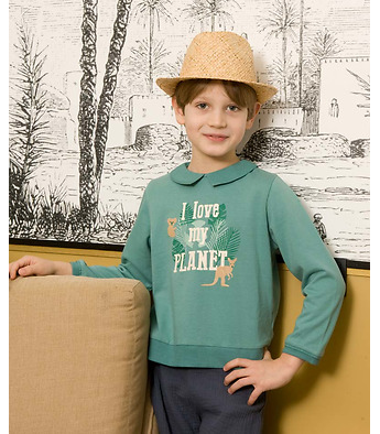 "Sweater ""I love my planet"" in organic fleece cotton"